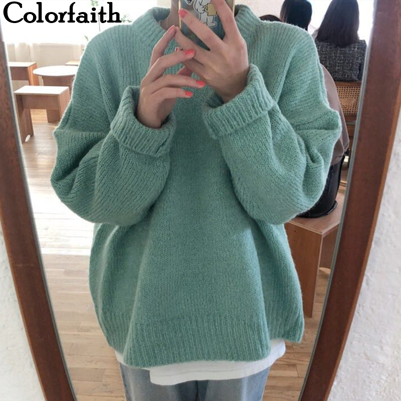 Colorfaith New 2019 Autumn Winter Women's Sweaters Casual Minimalist Tops Fashionable Korean Style Knitting Ladies Female SW2872