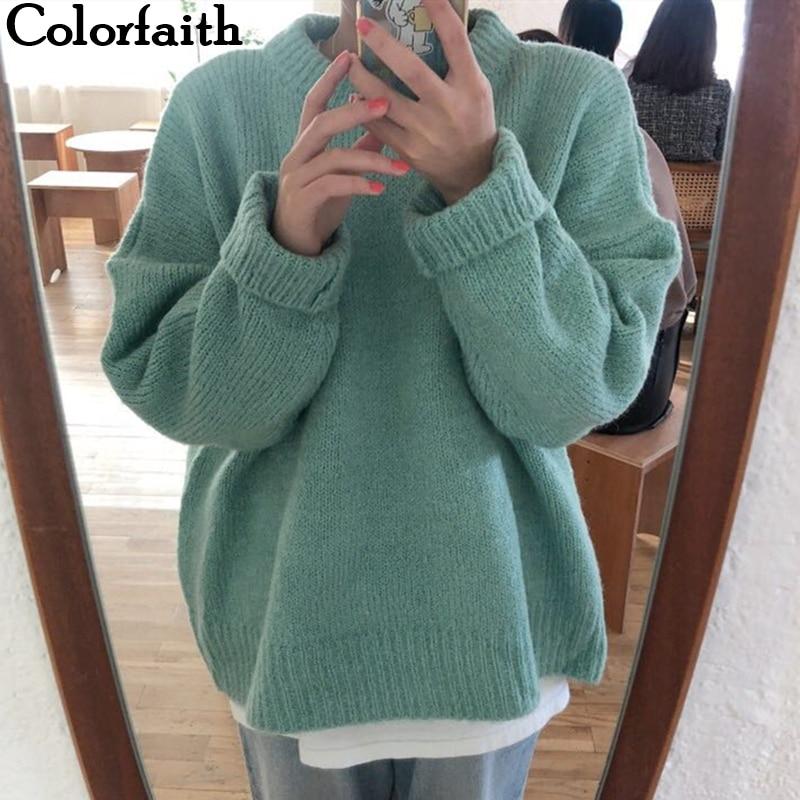 Colorfaith New 2019 Autumn Winter Women's Sweaters Casual Minimalist Tops Fashionable Korean Style Knitting Ladies Female SW2872