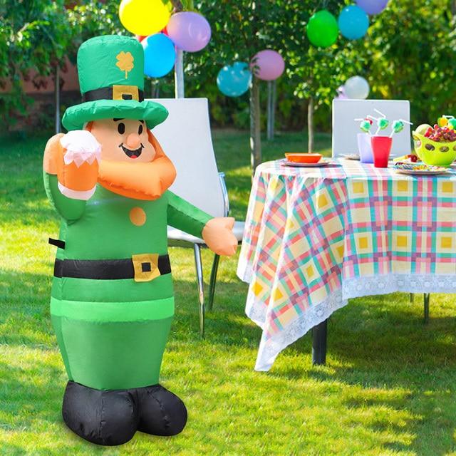Luminous Inflatable Model Doll Saint Patrick's Day Garden Decoration Blow Up Leprechaun Irish Oktoberfest Clover Inflatable Doll 1