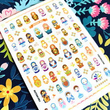 Newest R-168 Russian Japanese doll 3d nail art sticker nail decal stamping export japan designs With adhesive