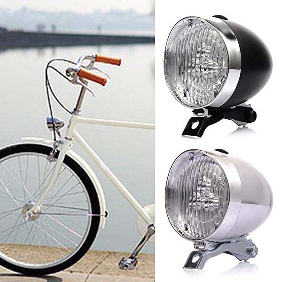 Black Vintage Bike 3 LED Retro Bicycle Headlight Front Light Fog Head Night Lamp