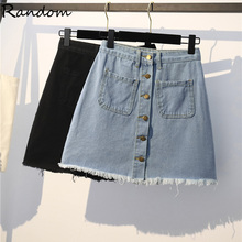 Plus Size L-4XL Denim High Waist A-line Mini Skirts Women 2020 Summer New Single