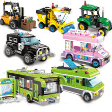 DIY Education Christmas Gifts City Bus Compatible Car Police Tractor Garbage Truck Fire Legoings Assembling Building Blocks Kit(China)