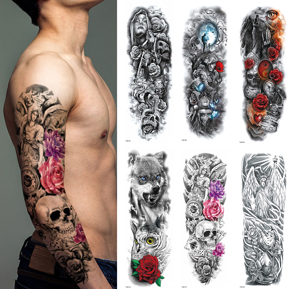 1 Sheets Full Arm Leg Extra Large Temporary Tattoos, Body Art For Men And Women - Wolf,Tiger,Bear,Warrior,Tribal Symbol