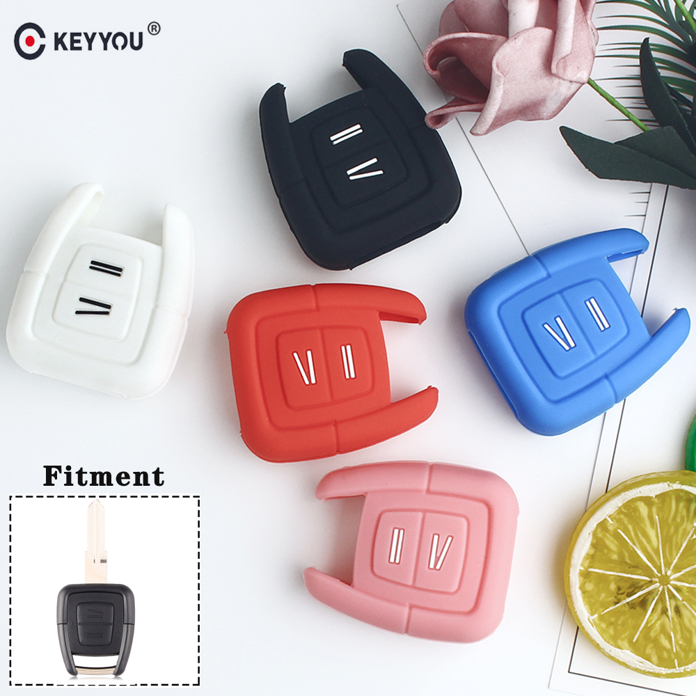 KEYYOU 2 Buttons Silicone Key Cover Fob Case For Vauxhall Opel Vectra Astra H J G Insignia Vectra C Zafira Remote Car Key Shell