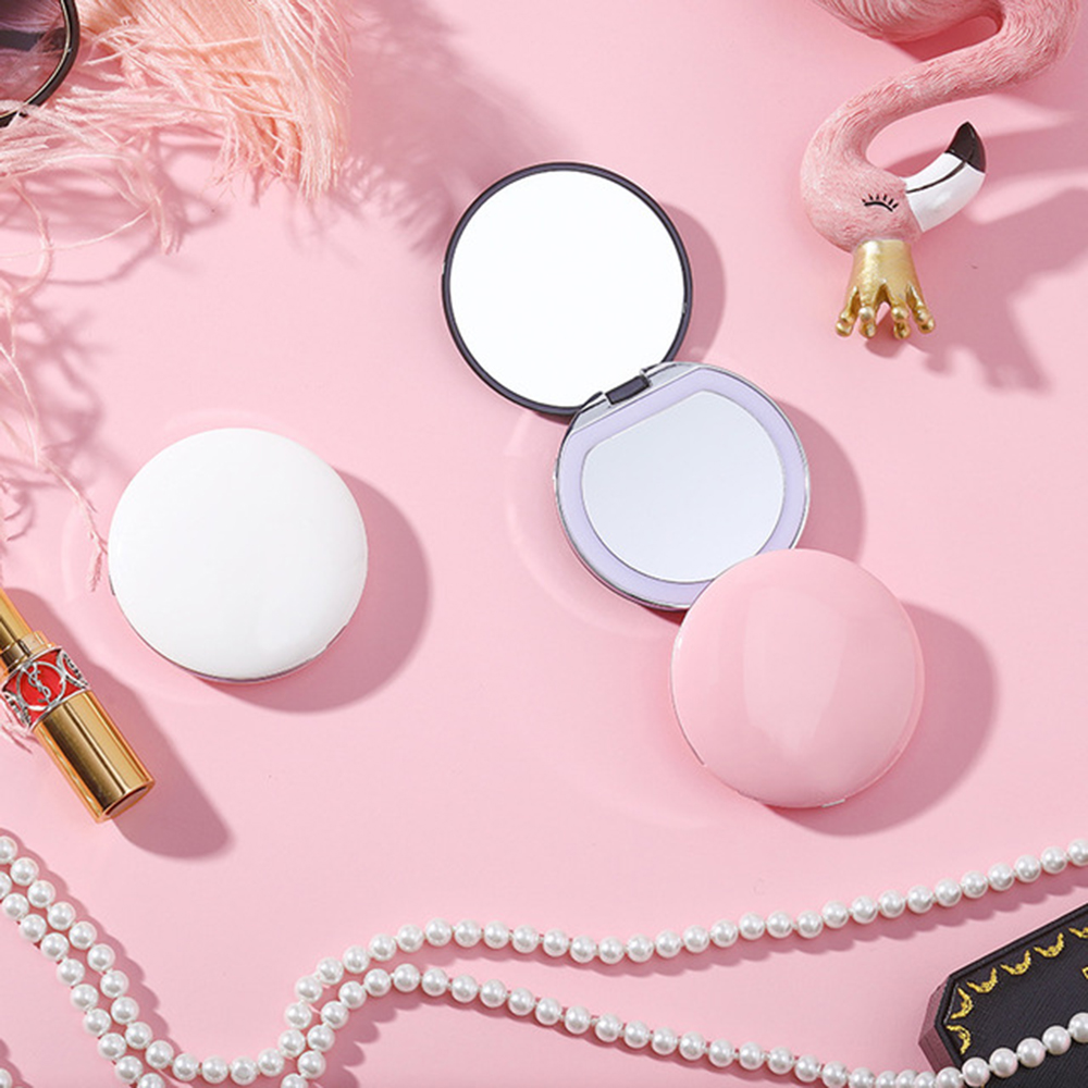 Magnifying Lighted Makeup Mirror Mini Round Portable Led Light Make Up Mirror Sensing Usb Chargeable Cosmetic Beauty Tools