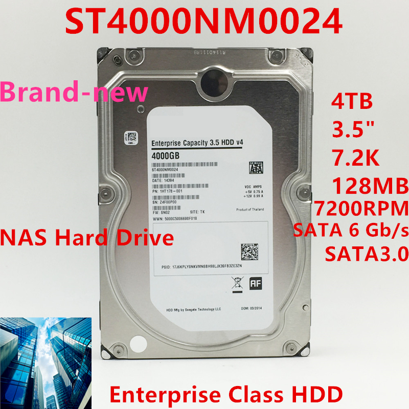 """New HDD For Seagate Brand 4TB 3.5"""" 7.2K SATA 6 Gb/s 128MB 7200RPM For Internal HDD For Enterprise ClassHDD For ST4000NM0024 1"""