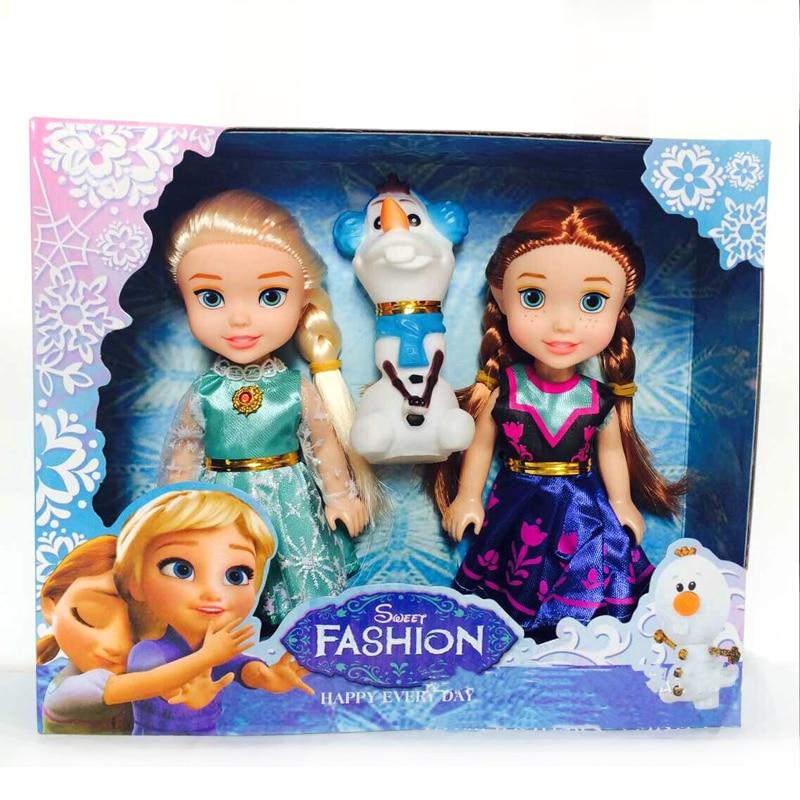 Hot 3pcs Princess Anna Elsa Dolls For Girls Toys Princess Anna Elsa Dolls For Girls Toys 16cm Small Plastic Baby Dolls Congelad