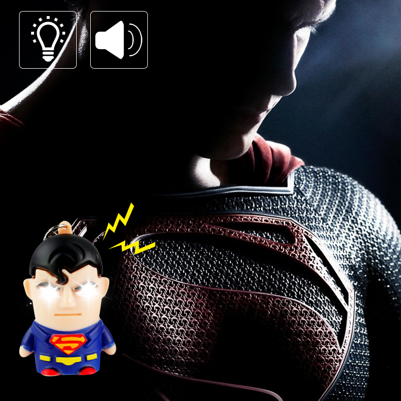 Superman LED Light Keychain Flashlight D Buckle Cartoon Night Light With Sound Children Gift Superhero 1 Pc