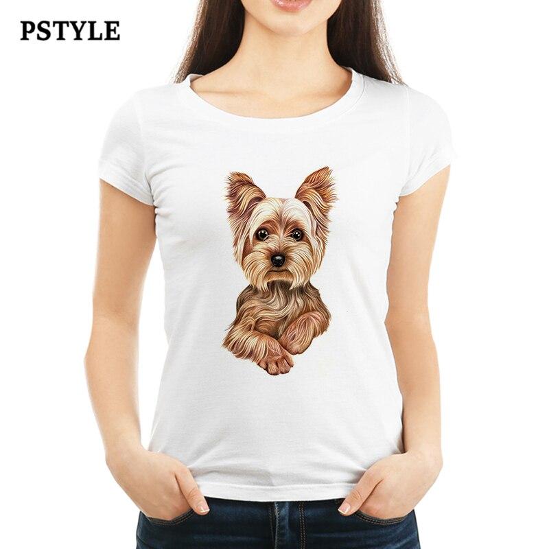 Summer Women's T Shirt Harajuku Kawaii Dog Animal Design Lovely Tees Shirts Cute Little Yorkshire Terrier Puppy Print White Tops