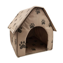 Warm Cat Bed Dog House Foldable Soft Feet Printed Pet Puppy Kitten Cloth Kennel For Winter Wholesale