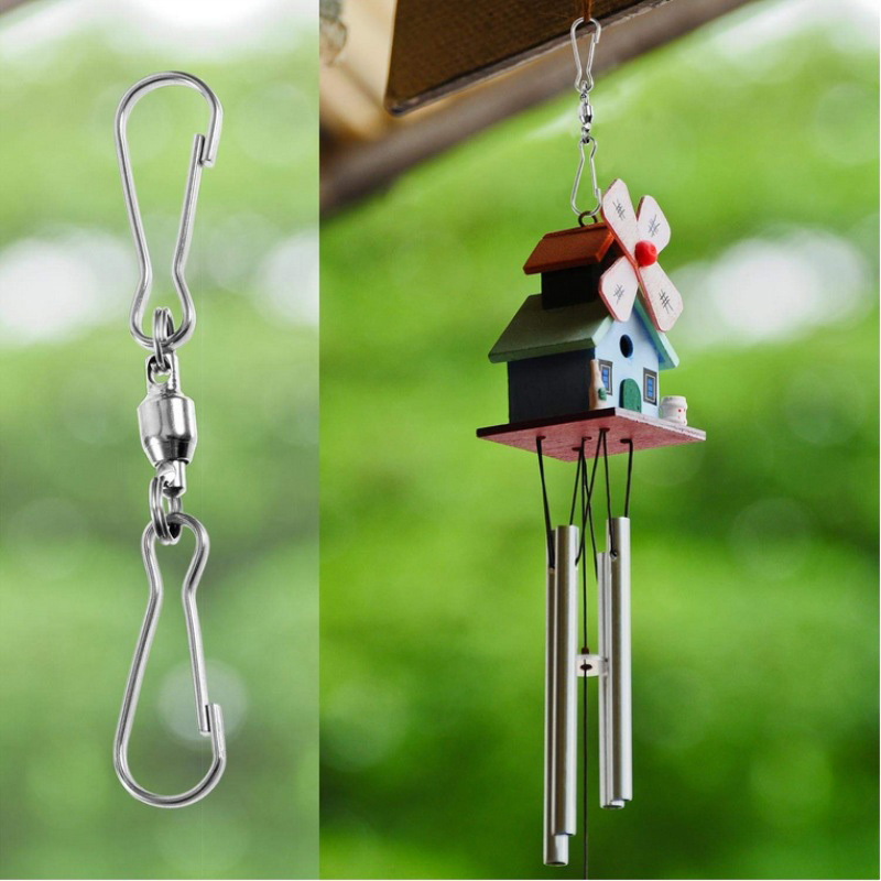 Daxin 12PCS Stainless Steel S-Shape Rotating Wind Chimes Hook Flower Basket Rotation Bearing Hook Accessories