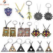 New Legend Of Zelda Logo Necklace Pendants Sword Z Triangle Breath of the Wild Owl Triforce Shield Car Keyring Men Jewelry anime game series the legend of zelda pendant necklace kids jewelry stainless steel triforce symbol triangle layered necklace