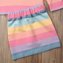Baby Girl Clothes Set Rainbow Striped Long Sleeve