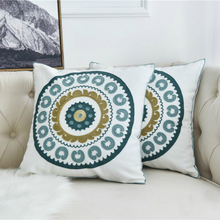 National Style Pillow Cover Round Leaf Pattern Embroidery Art Throw Cushion Cover Living Room Sofa Bed Home Soft Decor 45*45 цены