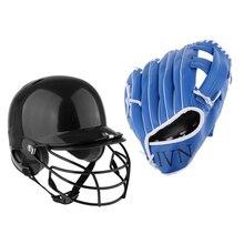 1 комплект, черный бейсбольный шлем для плавания, Софтбол, компактная маска и синий бейсбольный Софтбол, утолщенные перчатки, Софтбол, ловля перчаток