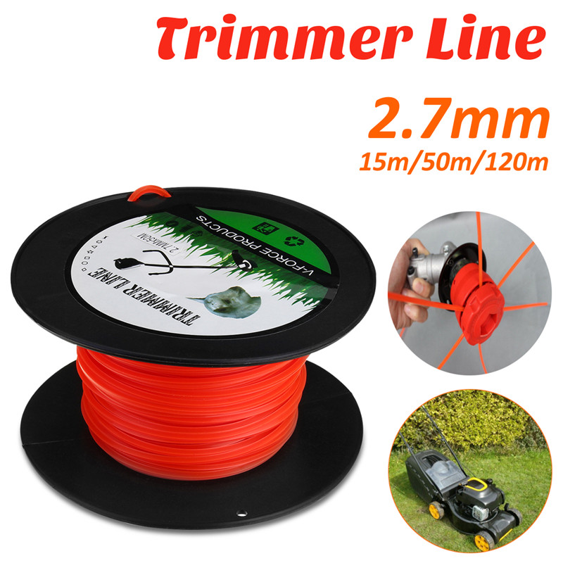 Mowing Rope Trimmer Line 2.7mm 15m/50m/120m Strimmer Brushcutter Trimmer Long Round Roll Square Grass Trimmer Head Nylon Line