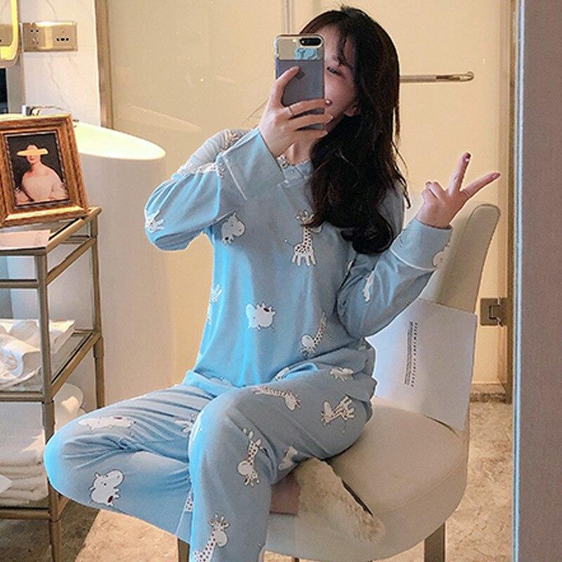 Spring Pajamas Women's New Style Long Sleeve V-neck Light Blue Giraffe Set Sweet Fashion-Outer Wear Tracksuit M -Xxl