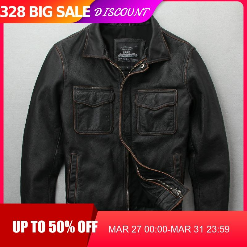 2020 Vintage Brown Men Casual Leather Jacket Plus Size XXXXXL Double Pockets Genuine Cowhide Spring Russian Coat FREE SHIPPING