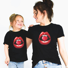 Mommy and Me Red Mouth Lip Kiss T shirt Mother Daughter Matc