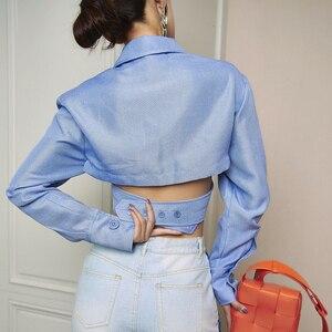 Image 5 - Deuxtwinstyle asymétrique mince femmes Blouses revers col à manches longues décontracté court dessus de chemise femme mode vêtements 2019 nouveau