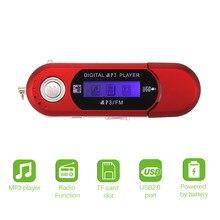Mini portátil usb digital mp3 player fm rádio ouvir música elegante e elegante mp3 player suporte 32gb tf cartão sd & rádio fm