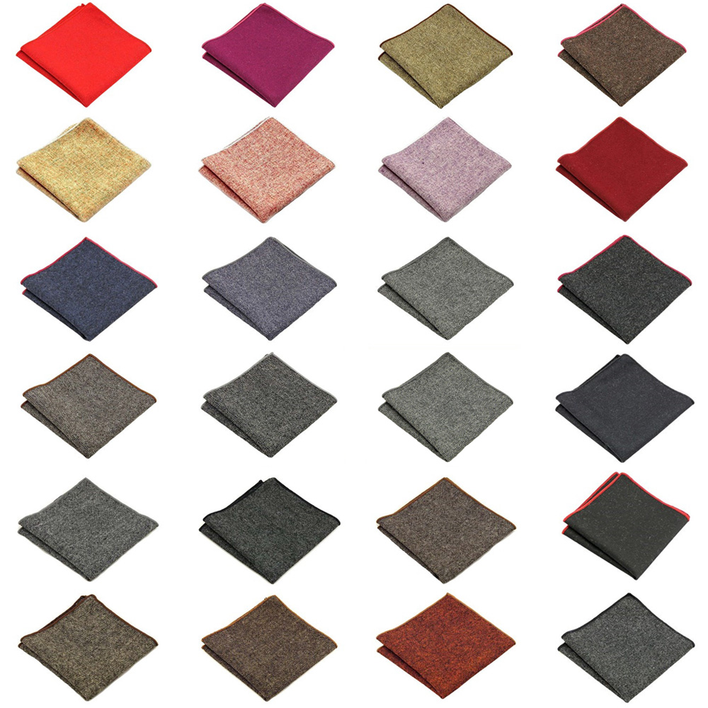 Men Solid Color Wool Cotton Pocket Square Wedding Party Handkerchief Hanky NEW QNTIE0305