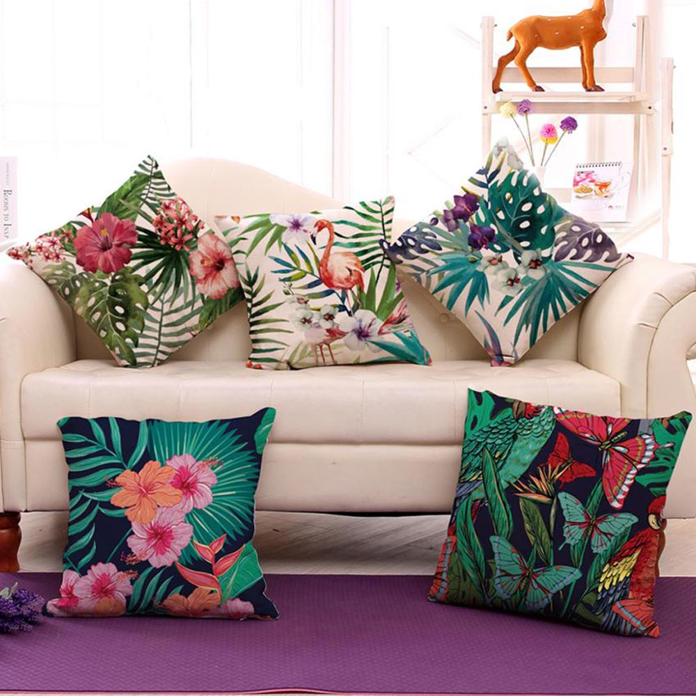 Pillowcase Flamingo Printed Cushion Cover 45*45 Sofa Cushions Pillow Cases Polyester Home Decor Pillow Covers Kd-0081