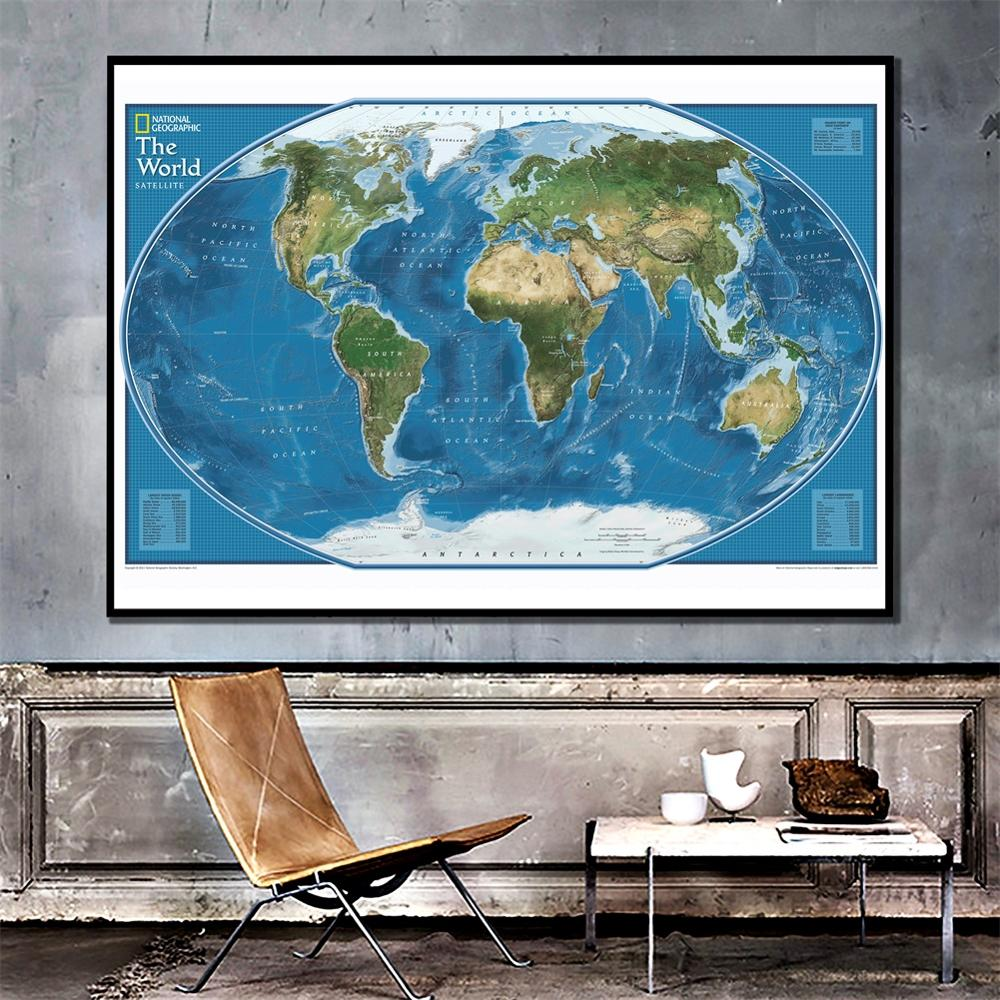 2011 Edition The World Satellite Map Simple World Decor Map For Living Room And Bedroom Wall Decor Canvas Painting