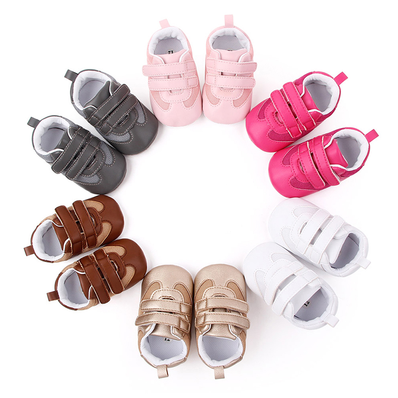 Infant Toddler Soft Sole Hook Loop Prewalker Sneakers Baby Boy Girl Crib Shoes Newborn For 0-18 Months