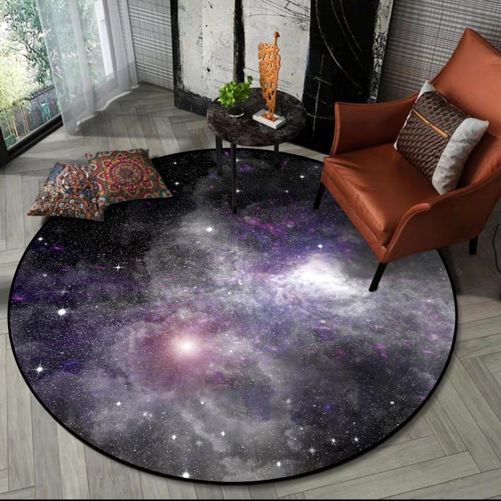 Image 3 - Gorgeous Starry Universe Series 3D carpet Living room bedroom non  slip circular floor mat plush round rug custom made door matMat   -