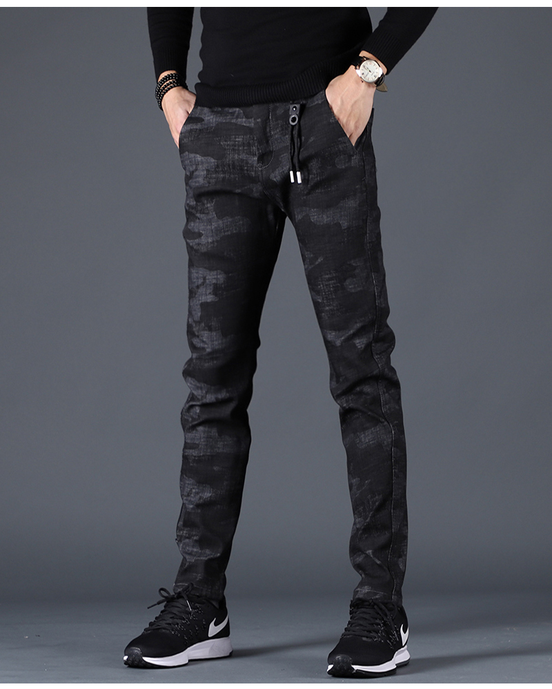 Free shipping new fashion men's male casual Original camouflage jeans men plus velvet autumn stitching pants Slim Korean C3129 90