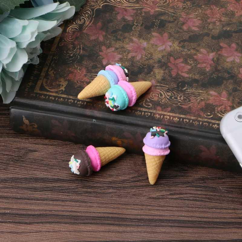 1 قطعة لطيف الآيس كريم مخروط المحمول قلادة هاتفية سلسلة مفاتيح قصيرة حزام هدية لعبة أطفال