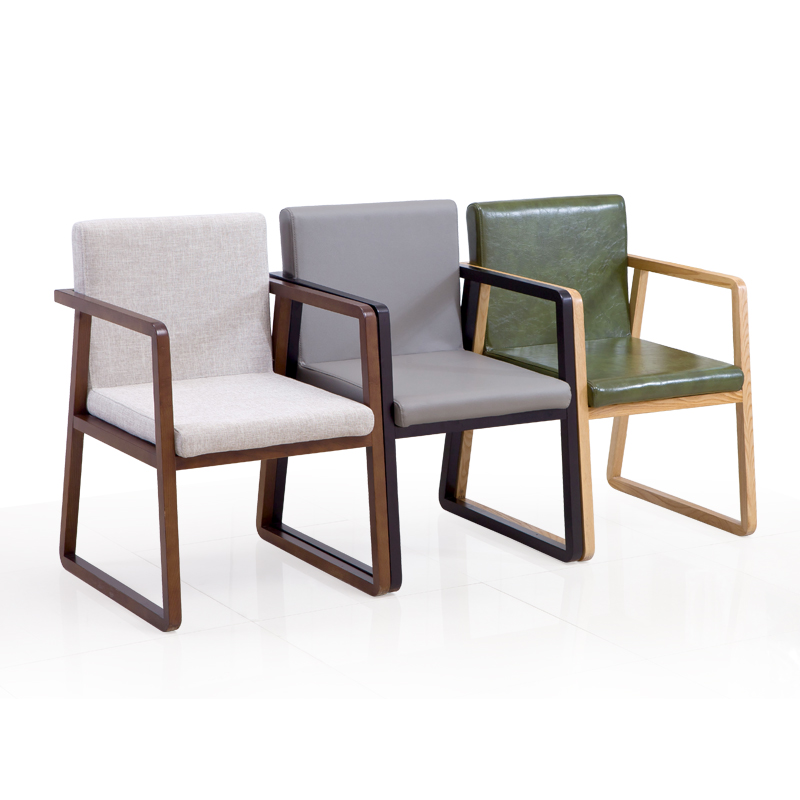 Nordic Solid Wood Dining Chair Coffee Restaurant Lounge Chair Hotel Conference Chair Study Modern Fabric Back Armchair