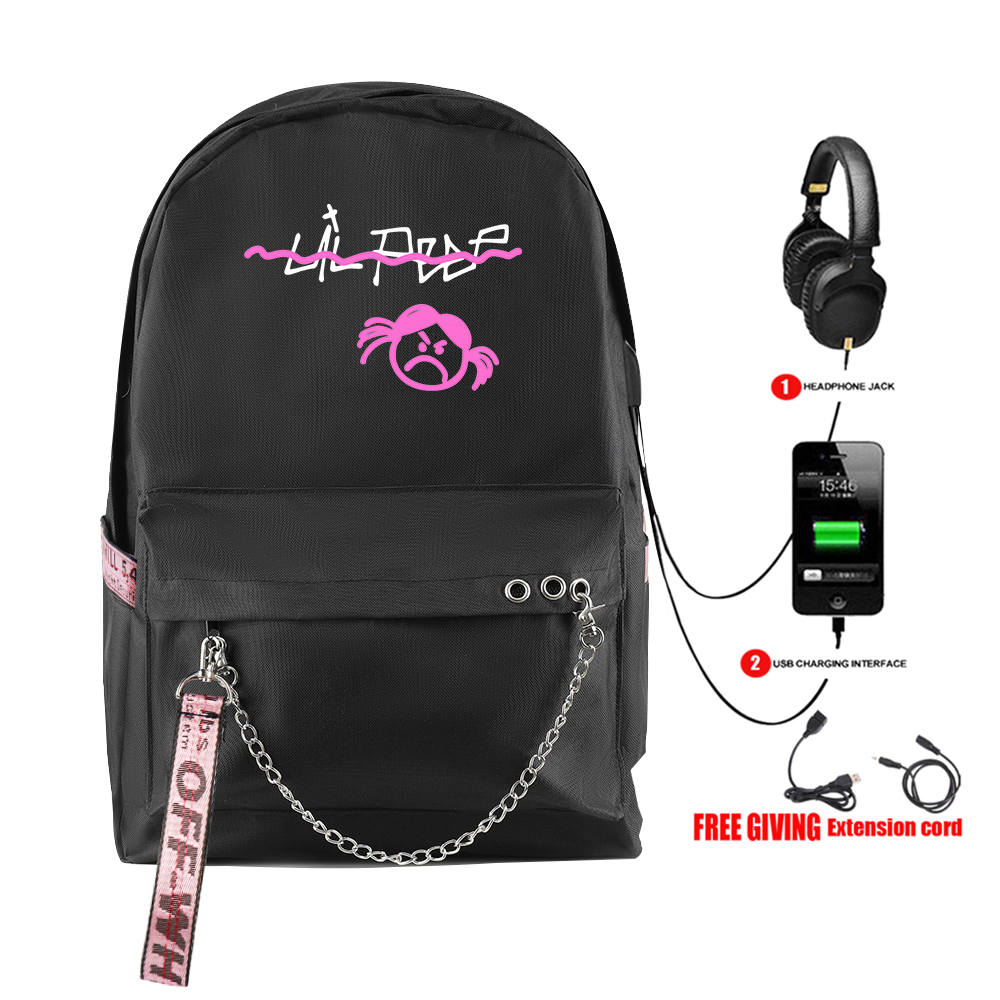 New Fashion Rap Lil Peep Backpack Usb Rechargeable Schoolbag Women's Shoulder Travel Bag Print Hip Hop Teenage Girls Bag