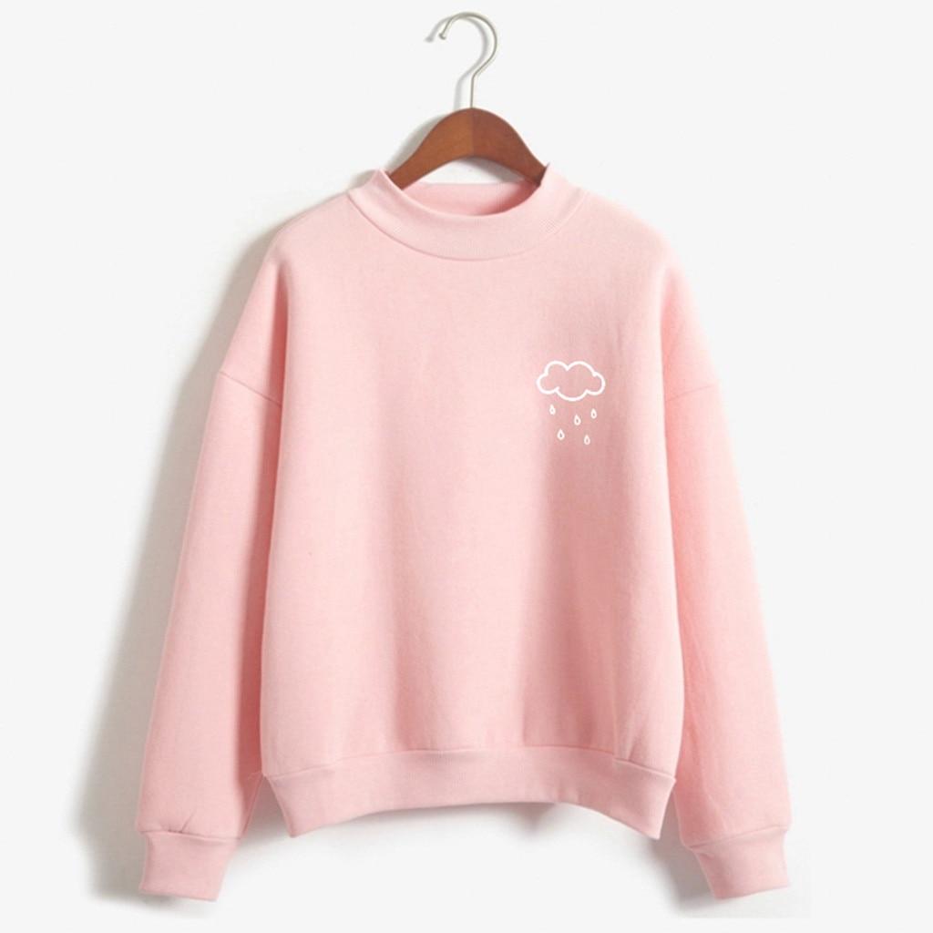 Womens Sweatshirt Autumn Spring warm Long Sleeve Rain Printed sweet pink pullovers O Neck Sweatshirt Casual Blouse sudadera 2020