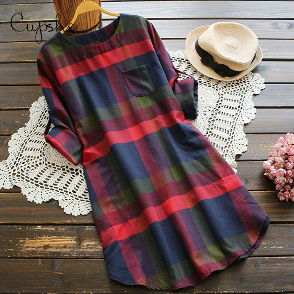 CUPSHE Women Plaid Print Mini Dress Long Sleeve Front Pockets Casual O neck Blouse Blusas Tops