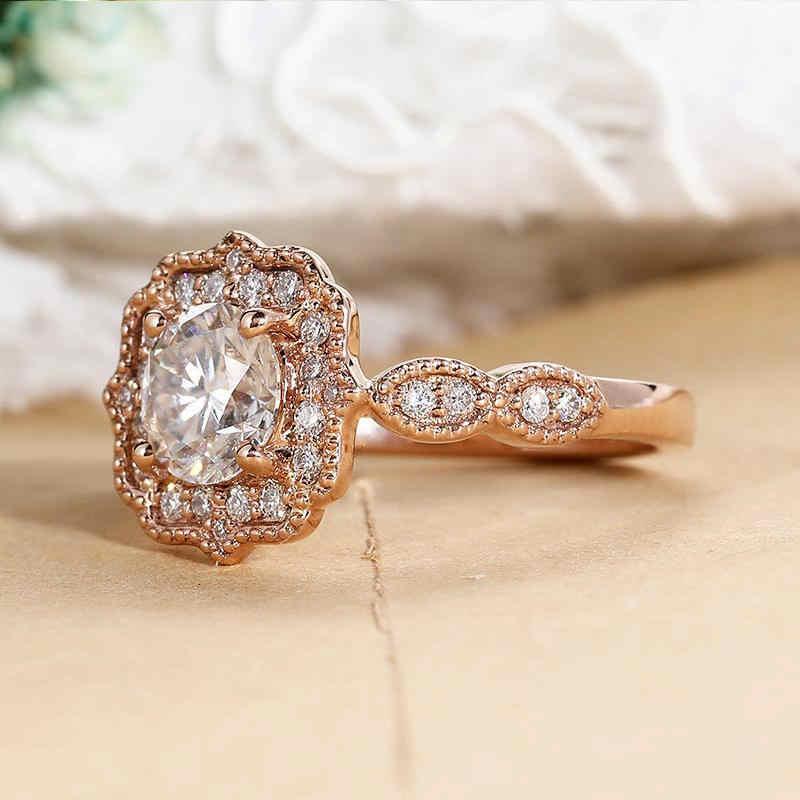 Anelli di fidanzamento per Le Donne In Oro Rosa Art Deco Anello Tondo Zircone Anniversario di Matrimonio Partito Gioielleria Raffinata Alla Moda Femminile Regalo