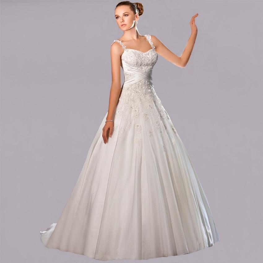 Vnaix WV445 Elegant Spaghetti Strap Sweetheart Lace Applique A Line Custom Made Wedding Dresses 2016