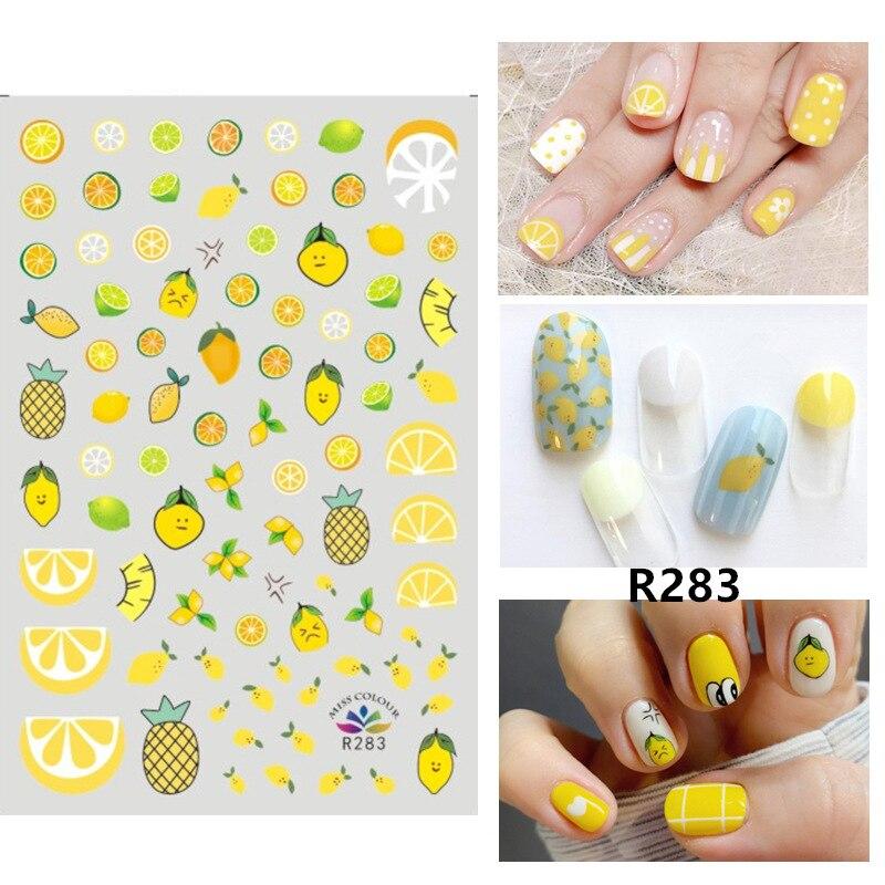 Frutas Flores Nail Stickers Manicure Francês Tira Água Decal Manicure Decalques Adesivo Decoração Da Arte Do Prego DIY Beauty Deslizante