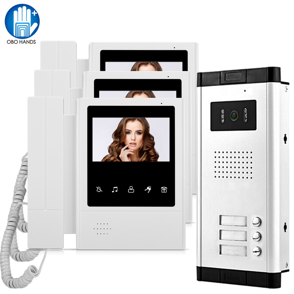 OBO Hands 4.3 inch Video Doorbell System Intercom Door Phone Monitor with Night Vision Camera for Multi Apartments 2/3/4/5/6/8