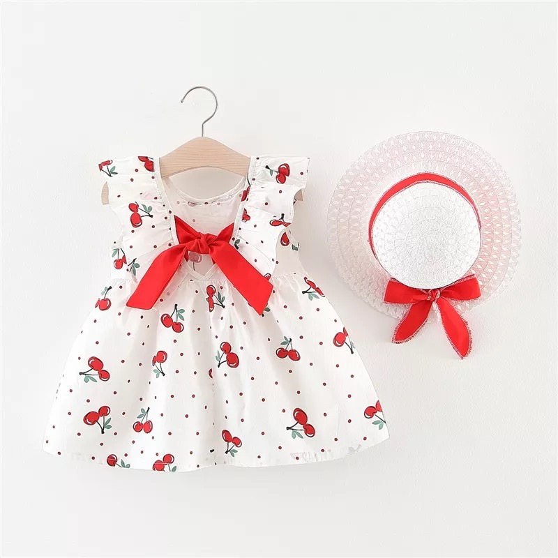 Baby Girl <font><b>Dress</b></font> Summer Bow Hat <font><b>2</b></font> Piece Set Children's Clothes Sleeveless Cherry Print <font><b>Birthday</b></font> Party Princess <font><b>Dress</b></font> Baby Clothes image