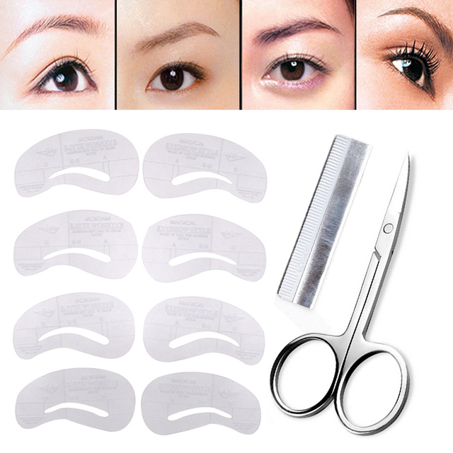 Women Female Makeup Eyebrow Stencil Pen Shaping Eyebrow Trimmer Hair Removal Epilator Grooming Eye Brow Scissors Shaver Knife