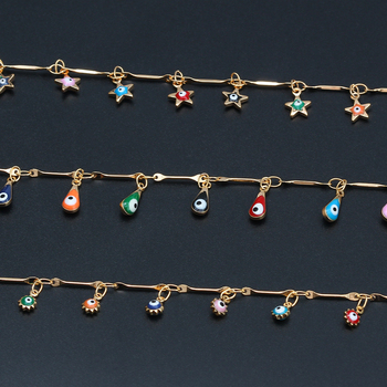 Lucky Eye Water Drop Star Sun Anklet Gold Color Leg Chain Ankle Bracelet Adjustable Fashion Foot Jewelry for Women Girls EY6528 5