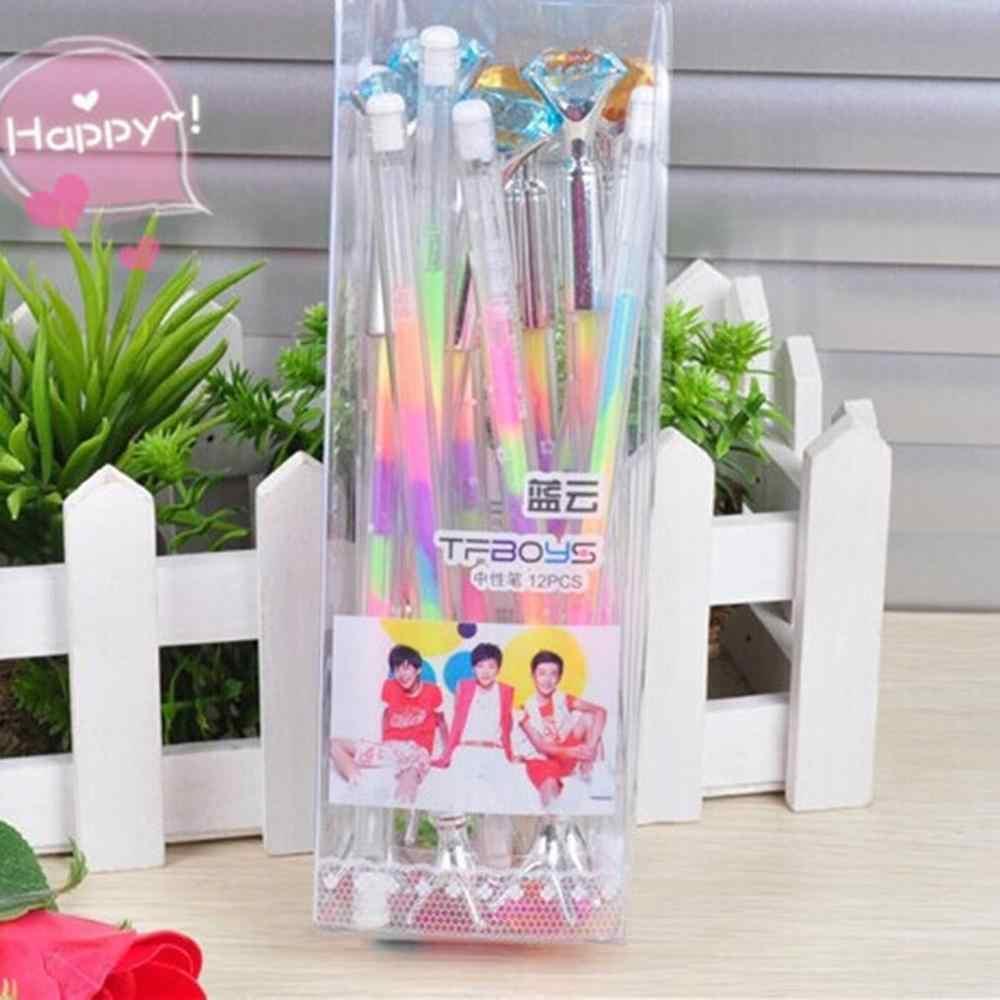Śliczne Kawaii kryształowe długopisy długopis Trendy duży diament kulkowe długopisy koreański długopisy szkolne papiernicze artykuły biurowe