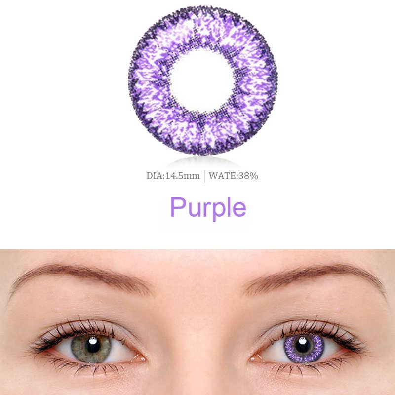 2 sztuk/1 para piękno uczeń kolorowe Cosplay Multicolor soczewki kontaktowe kobiet DIY Charm okulary Halloween ładna dziewczyna kosmetyki makijaż