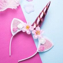 Милые девушки цветок кошачьи уши ободки с единорогами Детские головные повязки фото-реквизит вечерние обручи для волос повязки для волос Детские аксессуары для волос