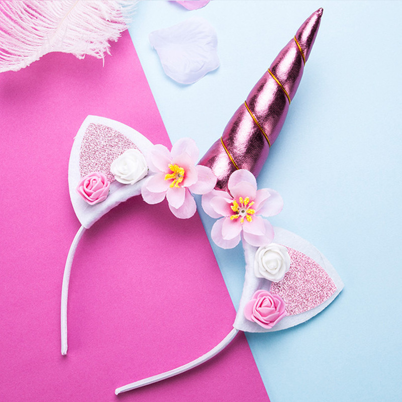 Cute Girls Flower Cat Ears Unicorn Headbands Children Headwear Photo Props Party Hair Hoop Hairbands Kids Hair Accessories