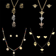 1Set Silver Gold Rose Gold Stainless Steel Hollow Cat Bee Star Cross Heart Necklace and Stud Earring(China)
