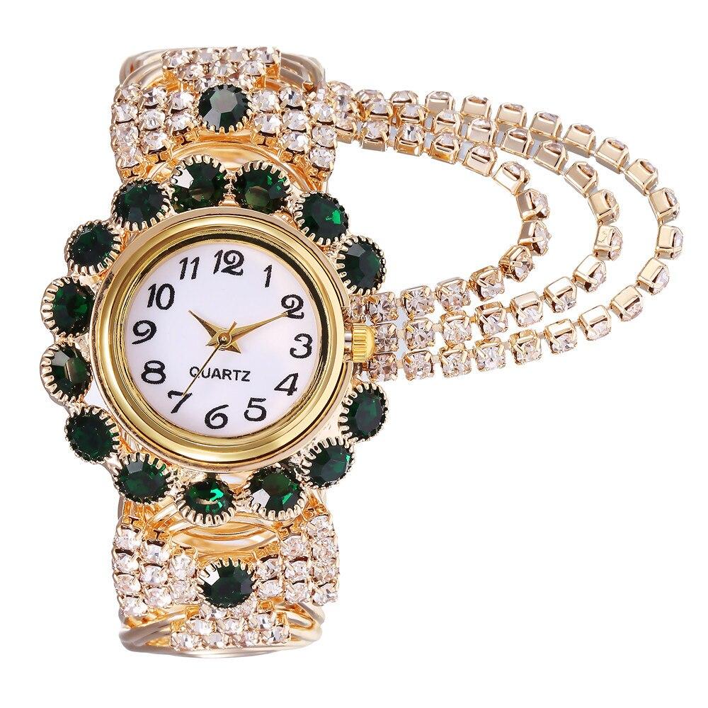 Luxury Alloy Women's Wristwatches Stylish Ladies Diamonds Crystal Jewelry Watch Bracelet Popular Quartz Watches Clock Gift reloj